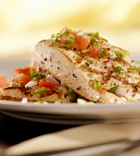 Grilled Halibut with Basil Tomato Salsa