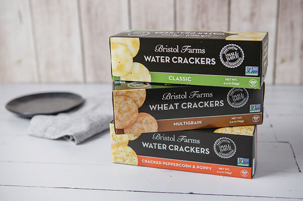 Bristol Farms Classic, Multigrain, and Cracked Peppercorn & Poppy Water Crackers