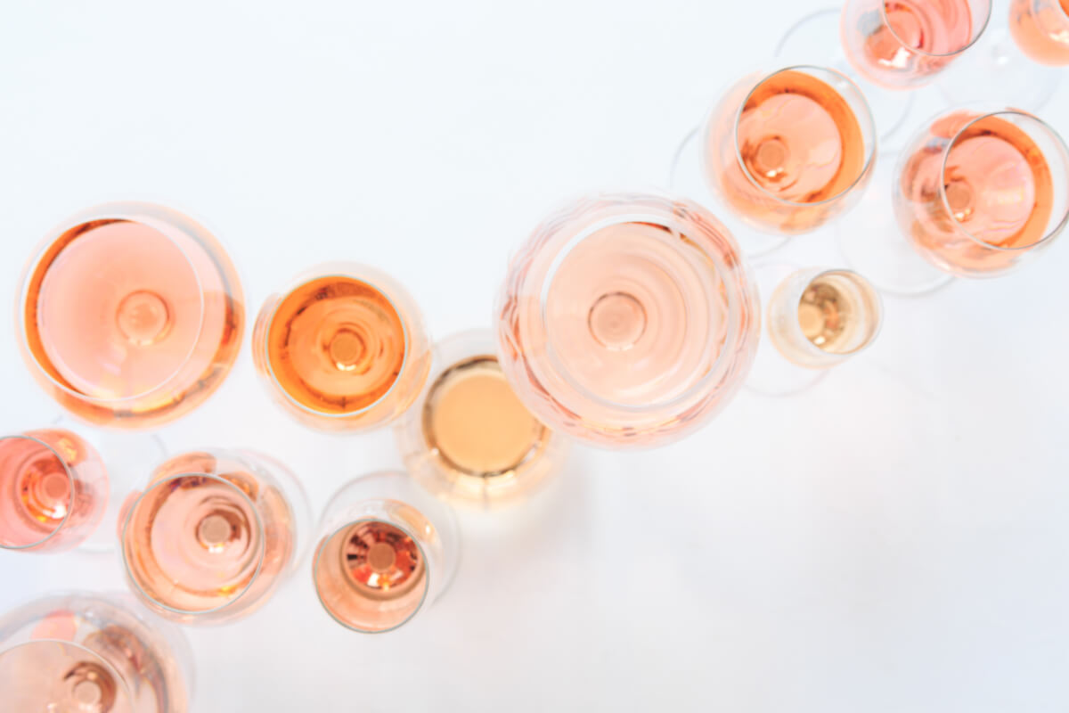 Top view of glasses poured with rosé