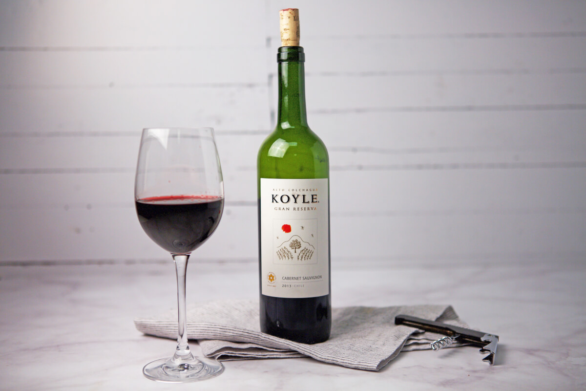 Koyle Gran Reserva Cabernet Sauvignon with poured glass
