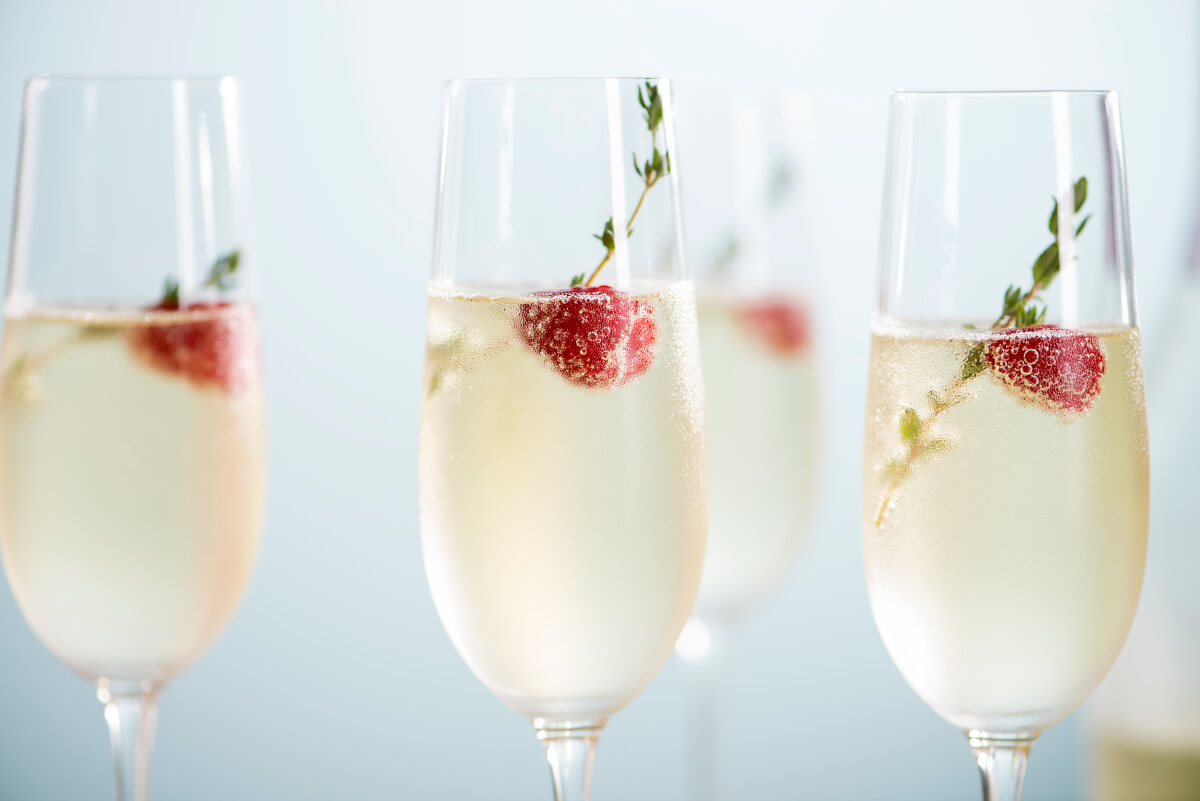 Valentine's Day Champagne with raspberries.