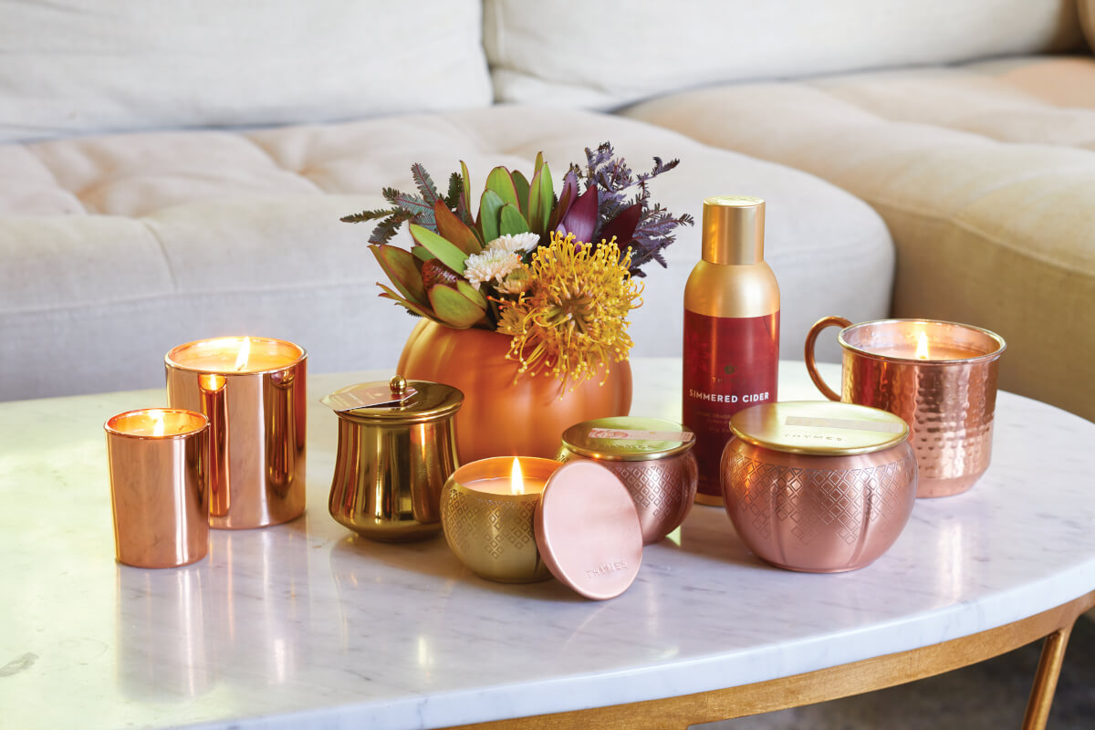 Thymes copper sitting on white and gold table.