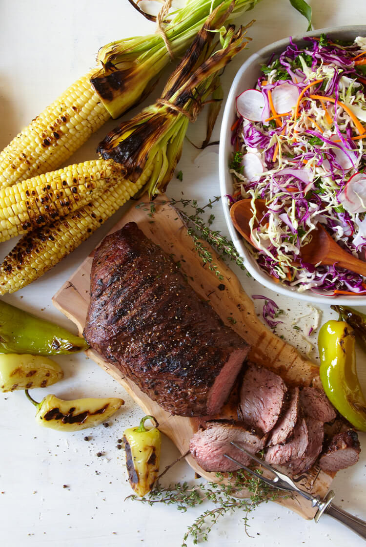 Steak with corn and peppers
