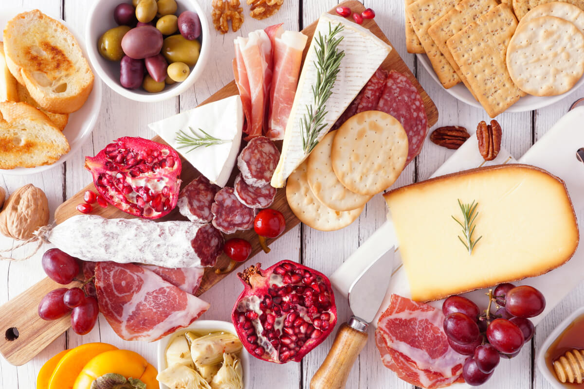 Charcuterie board with assorted meats and cheeses
