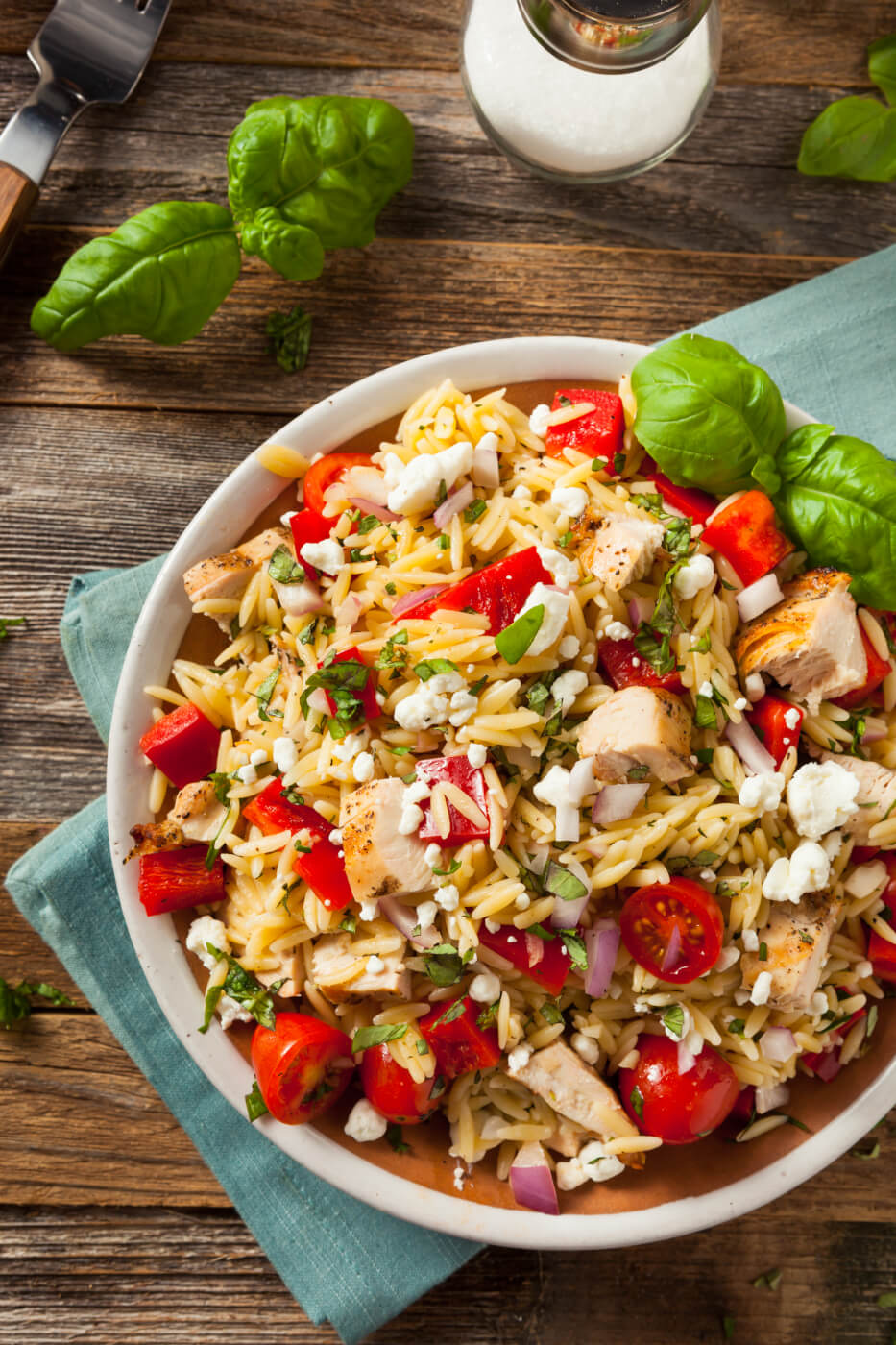 Roasted chicken and orzo skillet