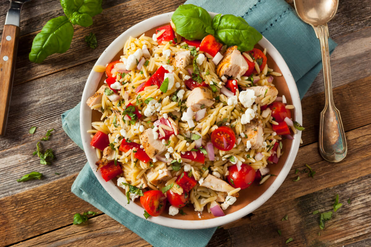 Chicken orzo made in a skillet with roasted chicken made the day before.