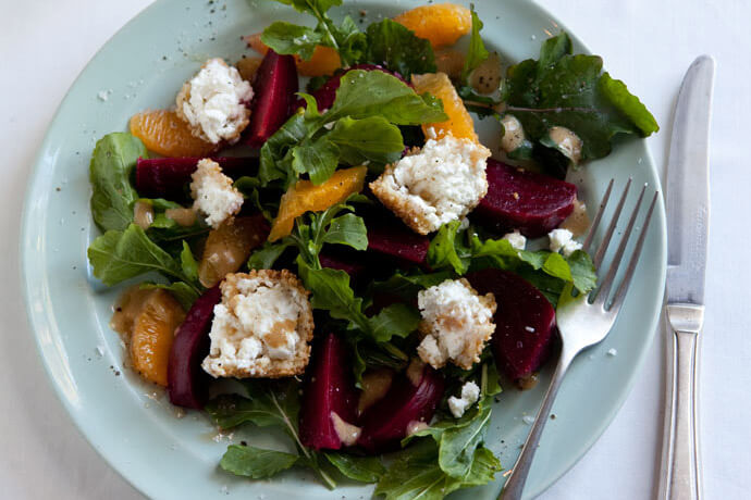 Beetroot and Orange Salad with Sesame Coated Goat Cheese and Honey