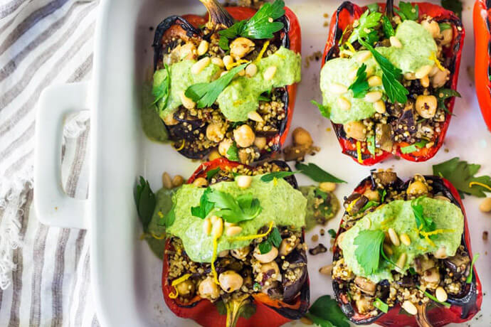 Feasting at Home's Stuffed Peppers with Quinoa, Eggplant, and Chickpeas